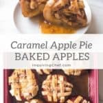 Caramel apple pie baked apples are a fun twist on apple pie. Fill cored apples with caramel sauce and cinnamon apples. Top them with pie crust and bake!