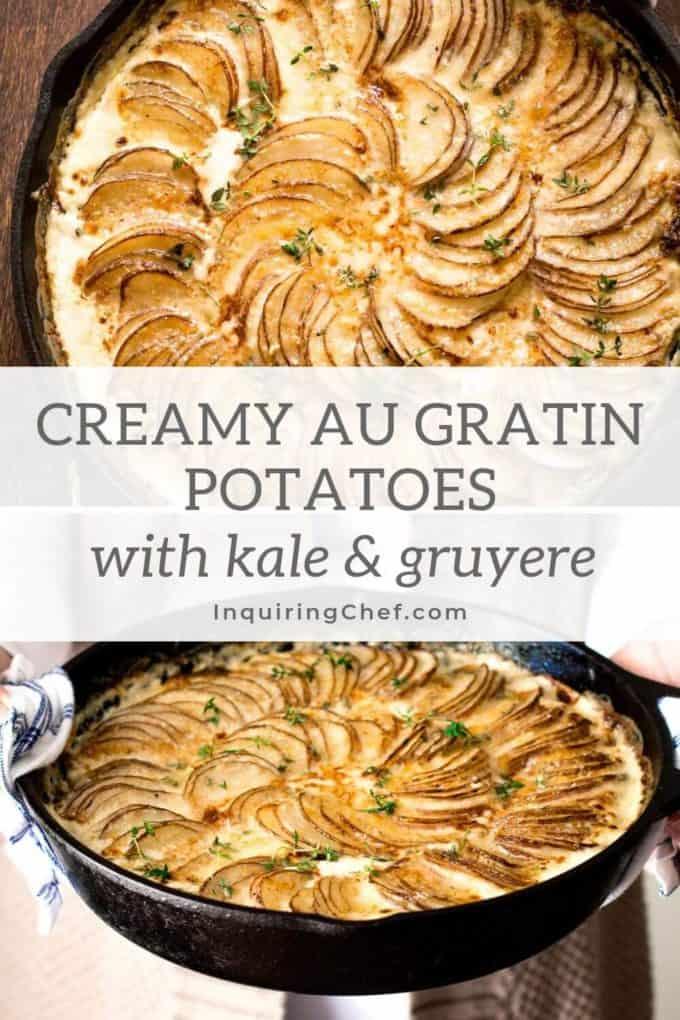 Creamy Au Gratin Potatoes with Kale and Gruyere