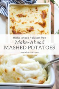 These ultra creamy mashed potatoes with a golden crisp top can be prepped up to two days ahead to save time (and dishes!) on the day of serving.