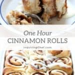 Light and fluffy 1 Hour Easy Cinnamon Rolls with cream cheese frosting. Check out the step-by-step tutorial and have them on your kitchen counter in 1 hour!
