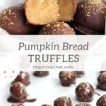 Pumpkin Bread Truffles - Rich, creamy pumpkin bread filling dipped in chocolate. Only three ingredients and no baking required!