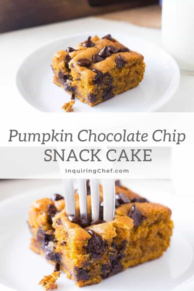 Super soft pumpkin cake with chocolate chips. A great make-ahead dessert or snack that tastes even better and more moist a day or two after baking.