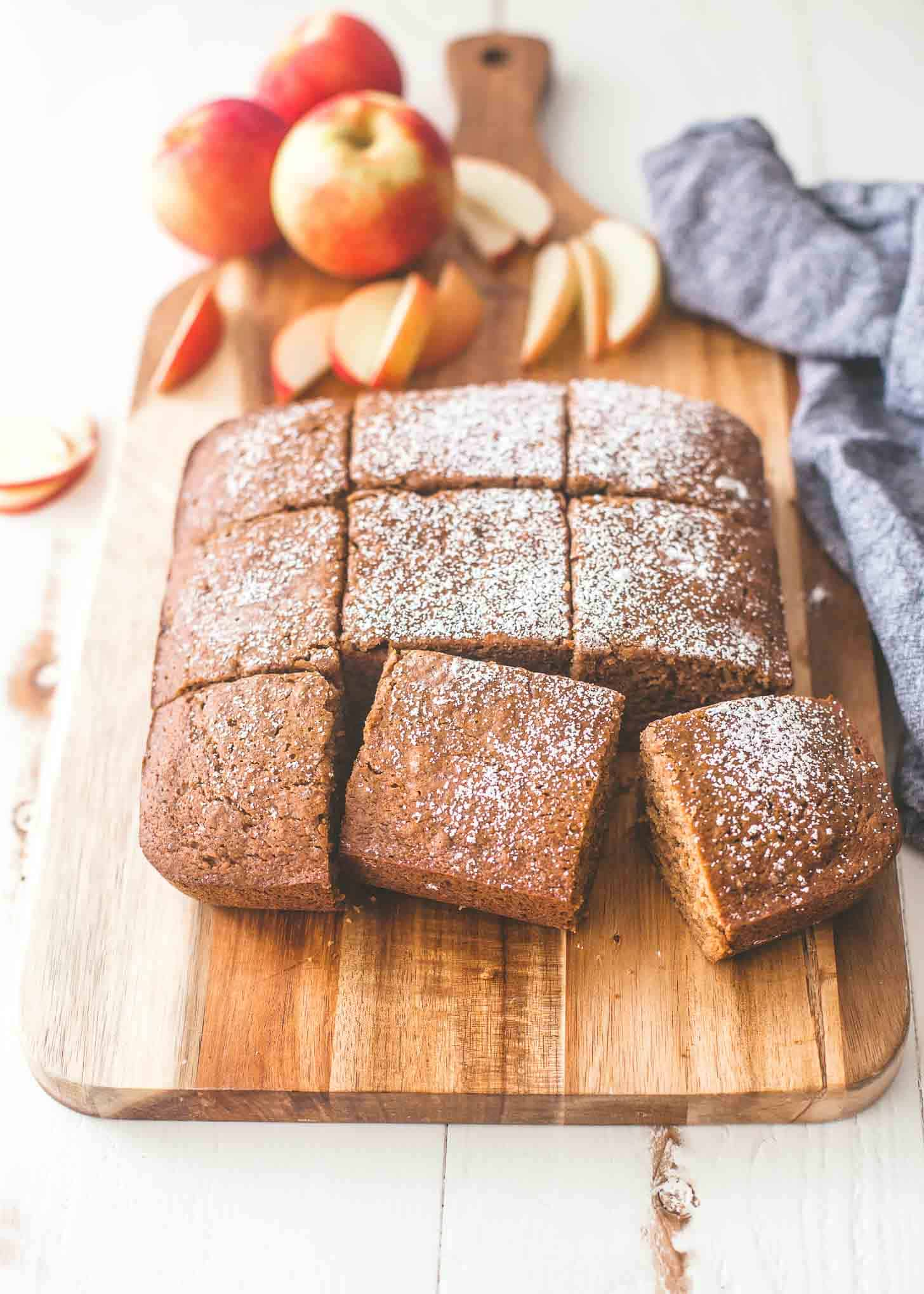 Applesauce Cake cut into squares