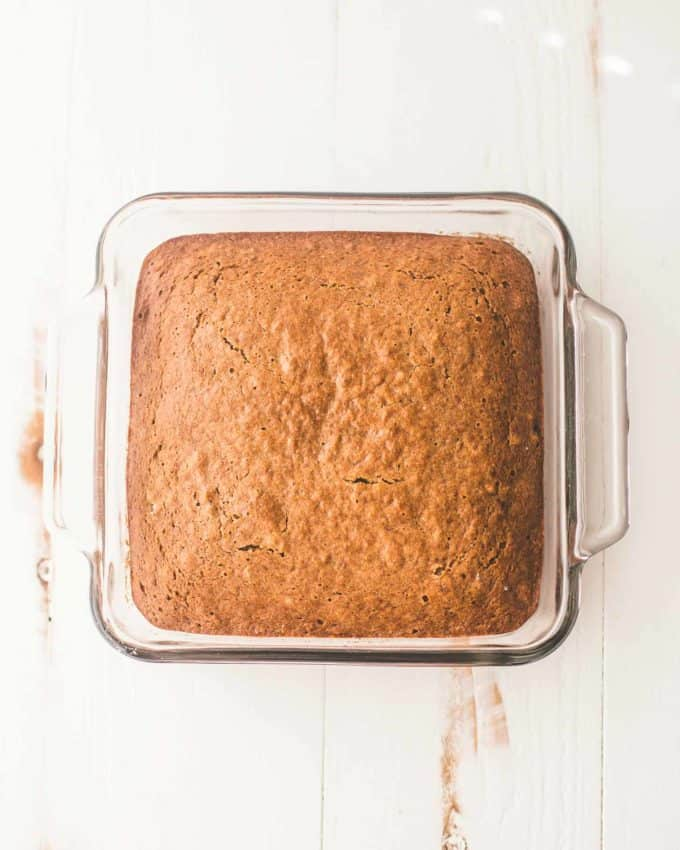Applesauce Cake in a clear baking dish