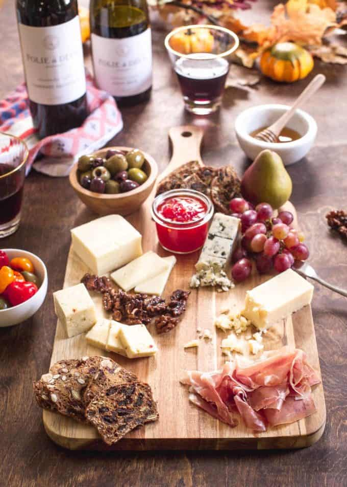 Fall Cheese Board on a wooden table