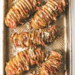 Ham and Cheese Hasselback Potatoes on a sheet pan
