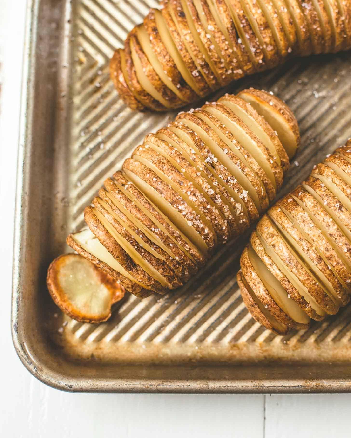 Hasselback Potatoes on a sheet pan