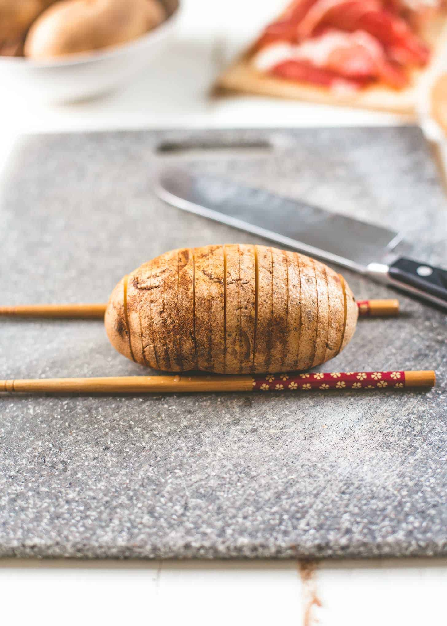slicing Hasselback Potatoes