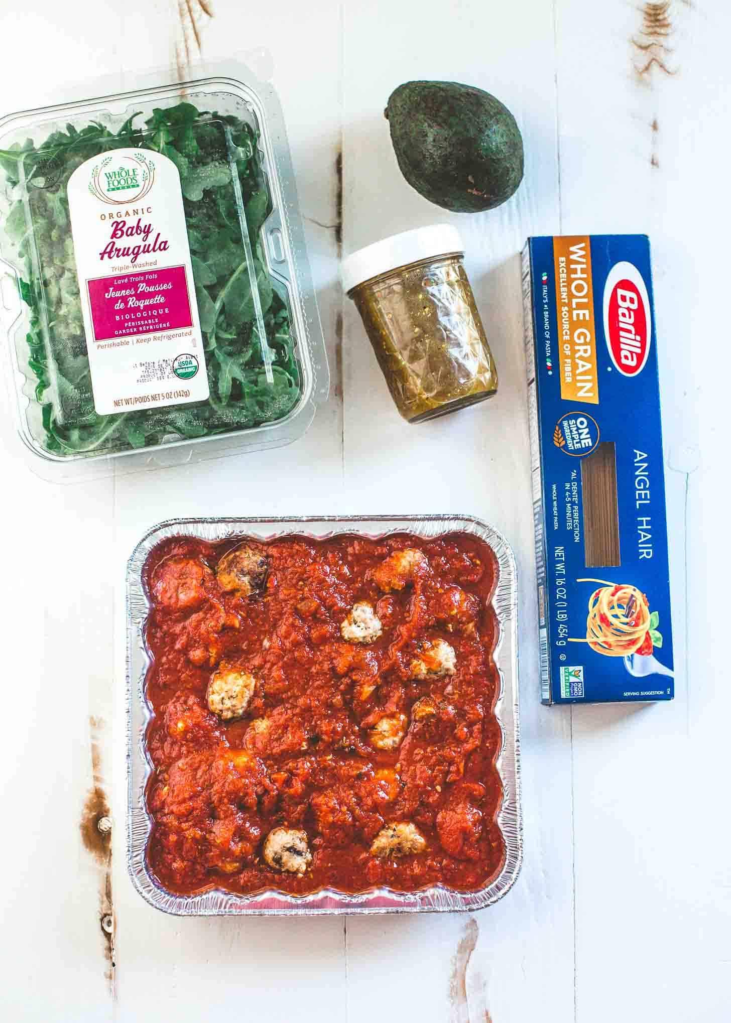 Italian Turkey Meatballs with sauce, pasta, salad kit and dressing
