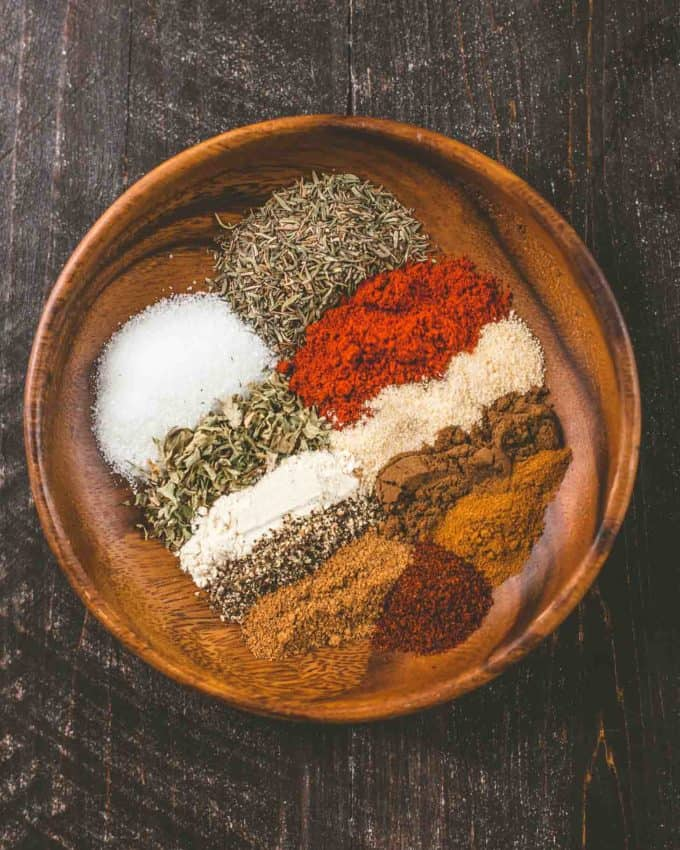 ingredients for Jerk seasoning in a small wooden bowl