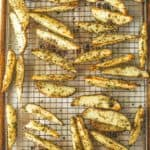 Oven Roasted Ranch Potato Wedges on a wire rack