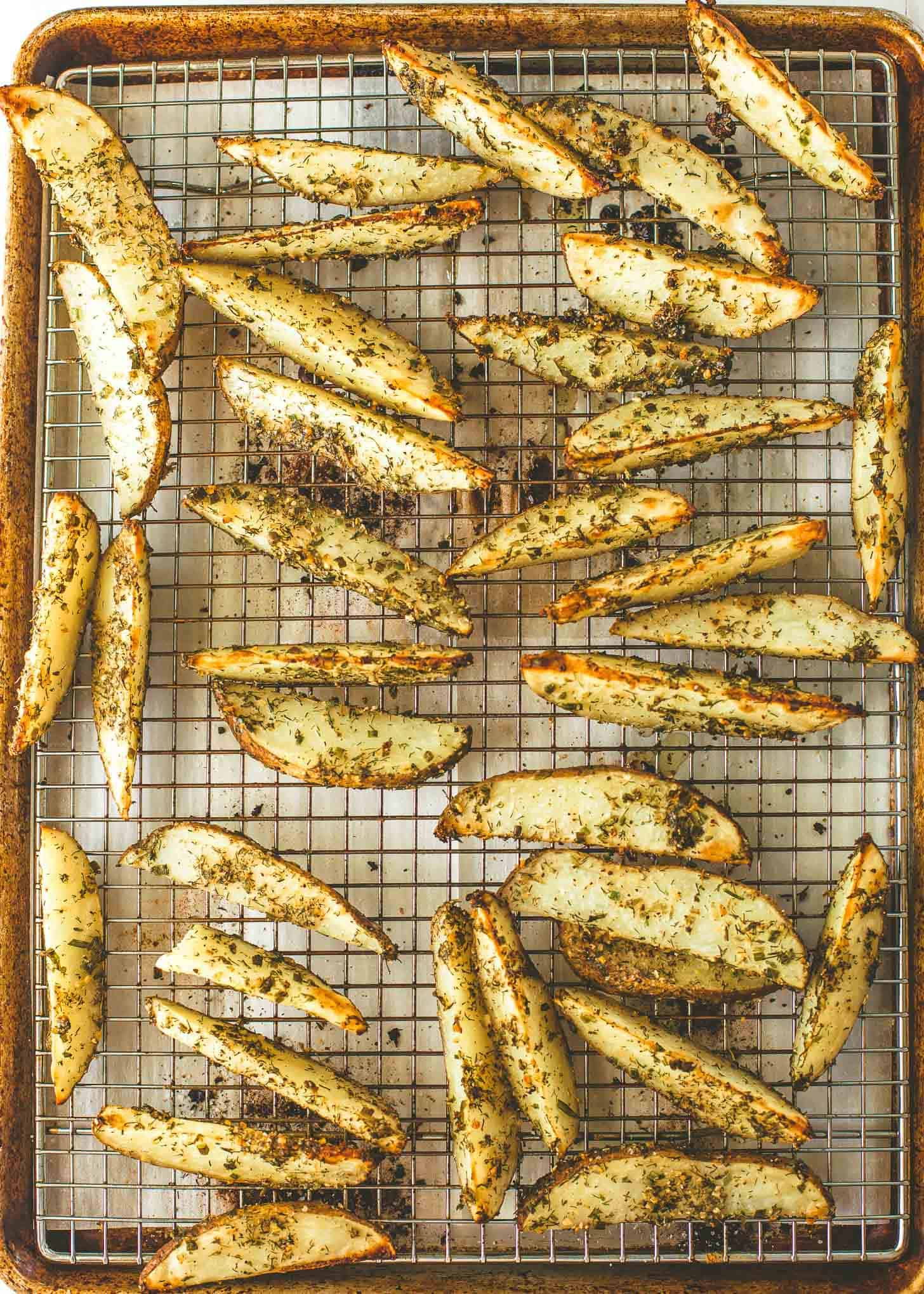 Oven Roasted Ranch Potato Wedges on a sheet pan