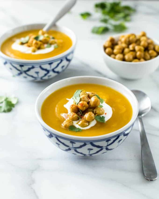 bowls of Sweet Potato Soup with Miso