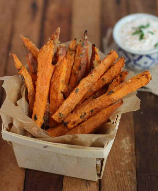 Sweet Potato Fries in a small basket