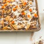 Candy Corn Crunch Bark on a sheet pan