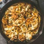 Cauliflower Piccata with Lemon Caper Sauce in a skillet