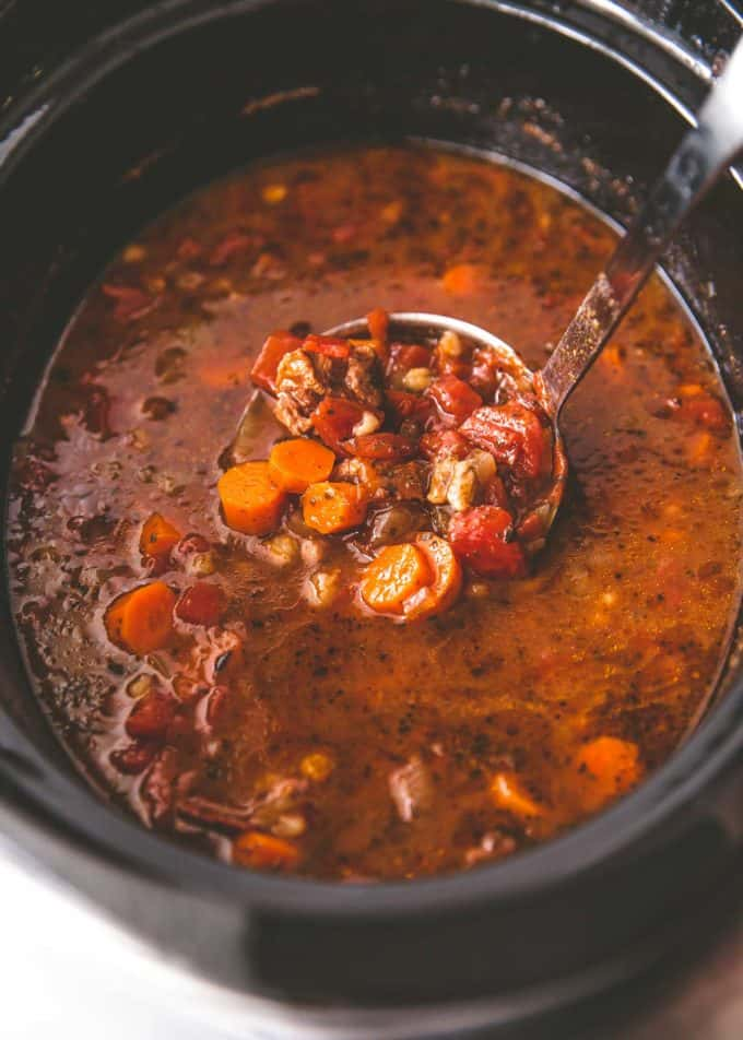 beef and barley soup in a slow cooker