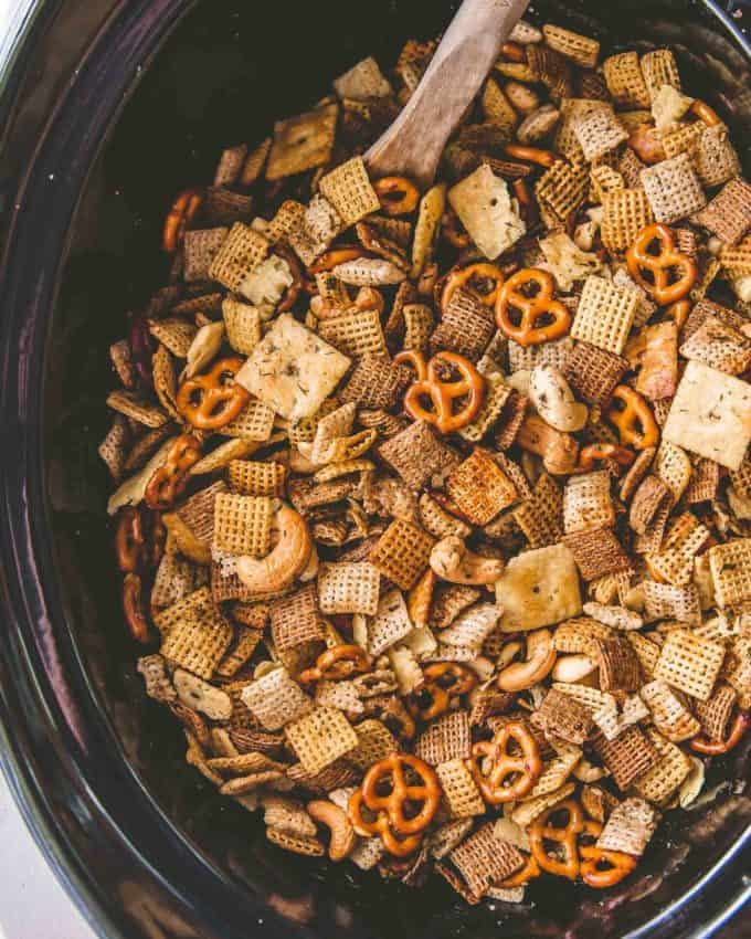Ranch Party Mix in the slow cooker