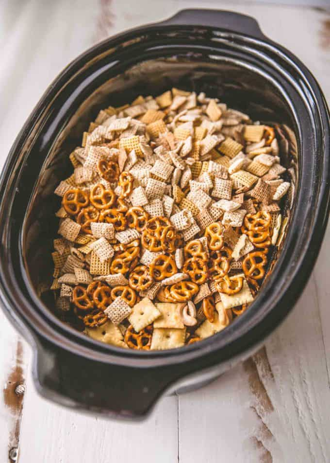 Slow Cooker Ranch Party Mix in the slow cooker