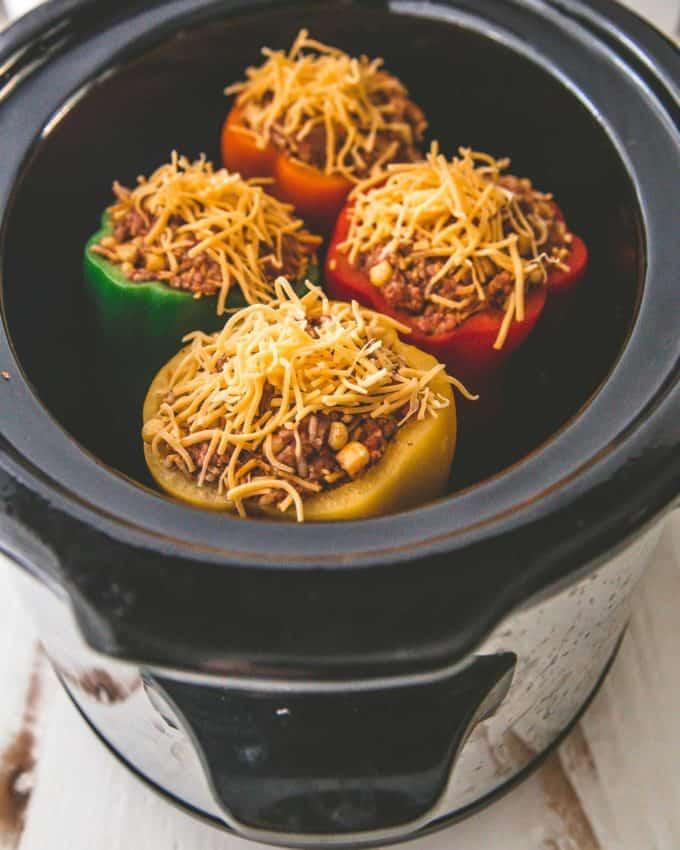 Tex Mex Stuffed Peppers in a slow cooker