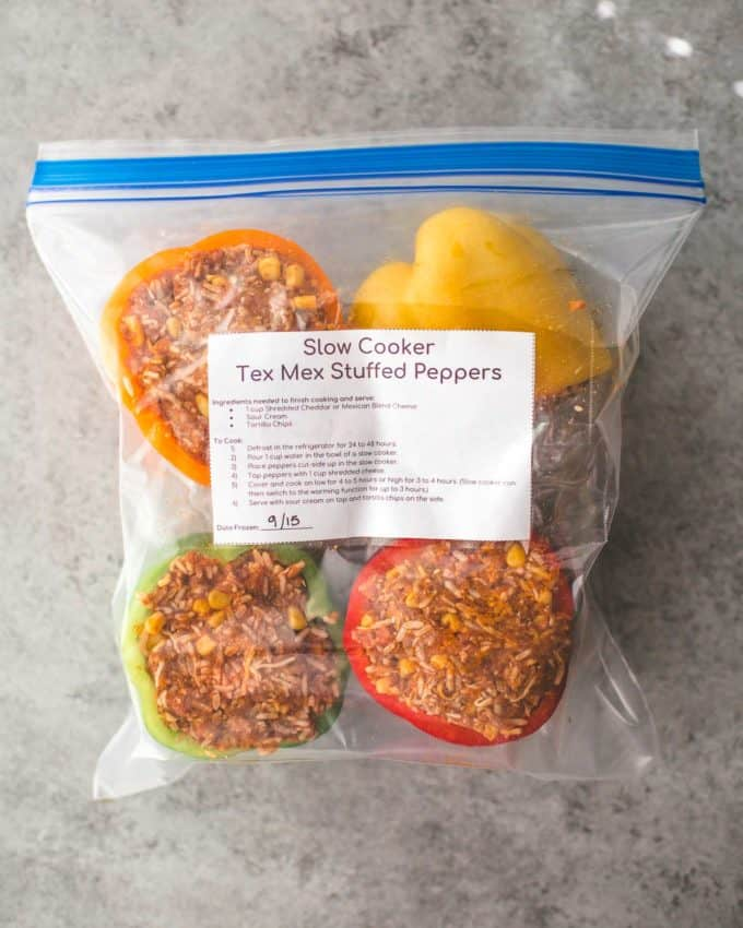 Slow Cooker Tex Mex Stuffed Peppers in a freezer bag