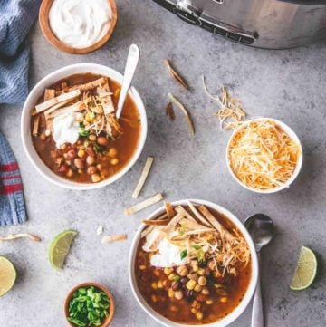 Three Bean Taco Soup in white bowls