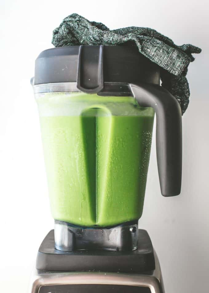 two ingredient green smoothie in a blender