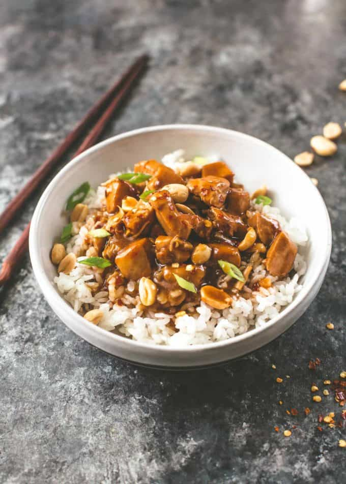instant pot kung pao chicken over rice in a white bowl