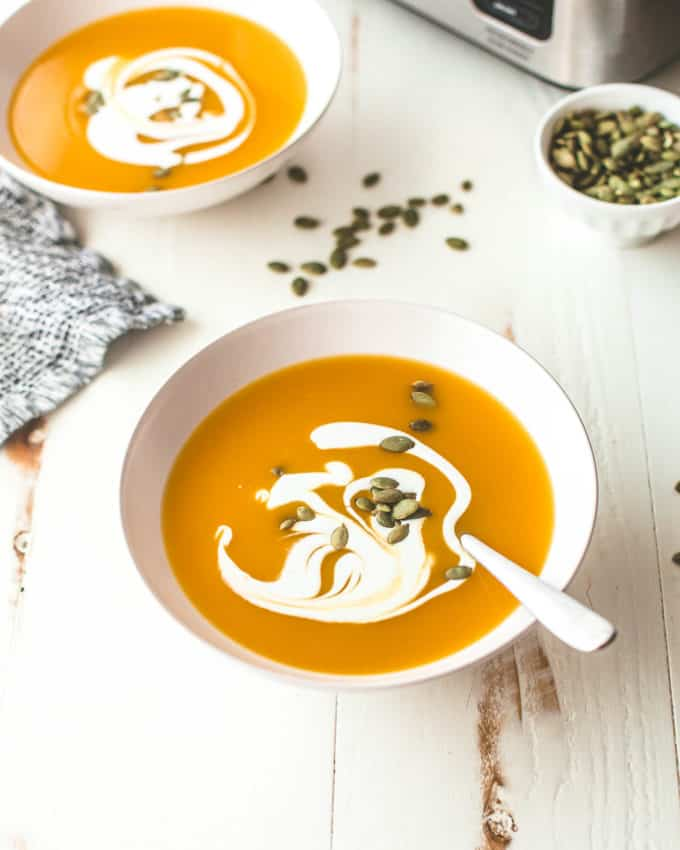 bowls of butternut squash soup