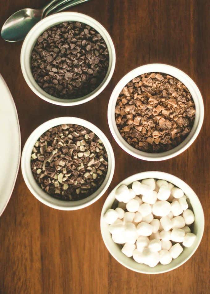 hot chocolate toppings in white ramekins
