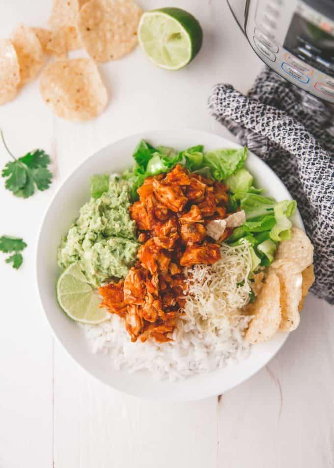 Instant Pot Chicken Burrito Bowls in a white bowl