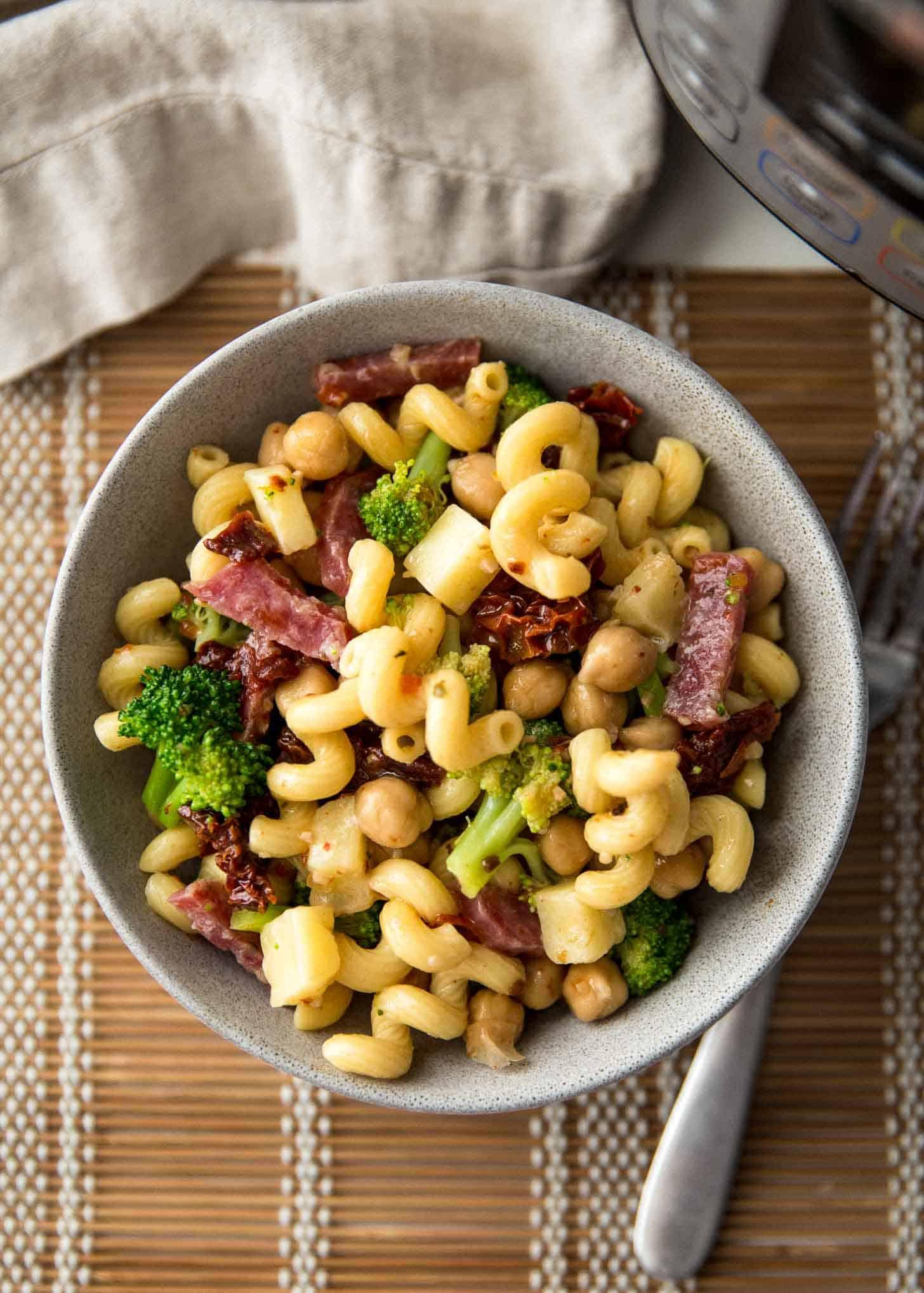 Instant pot pasta salad in a grey bowl