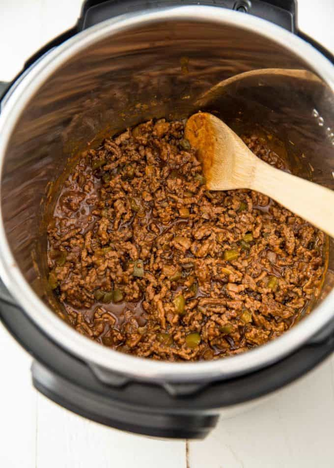 stirring sloppy joes in the instant pot