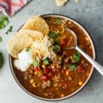 a bowl of taco soup with tortilla chips