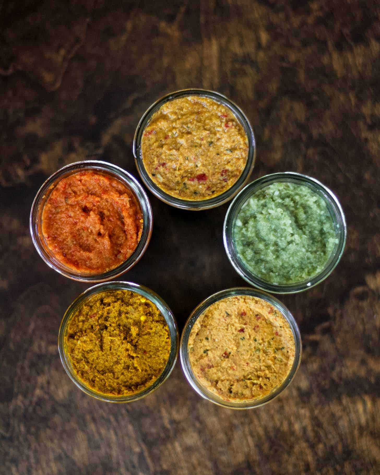 mason jars of curries viewed from the top