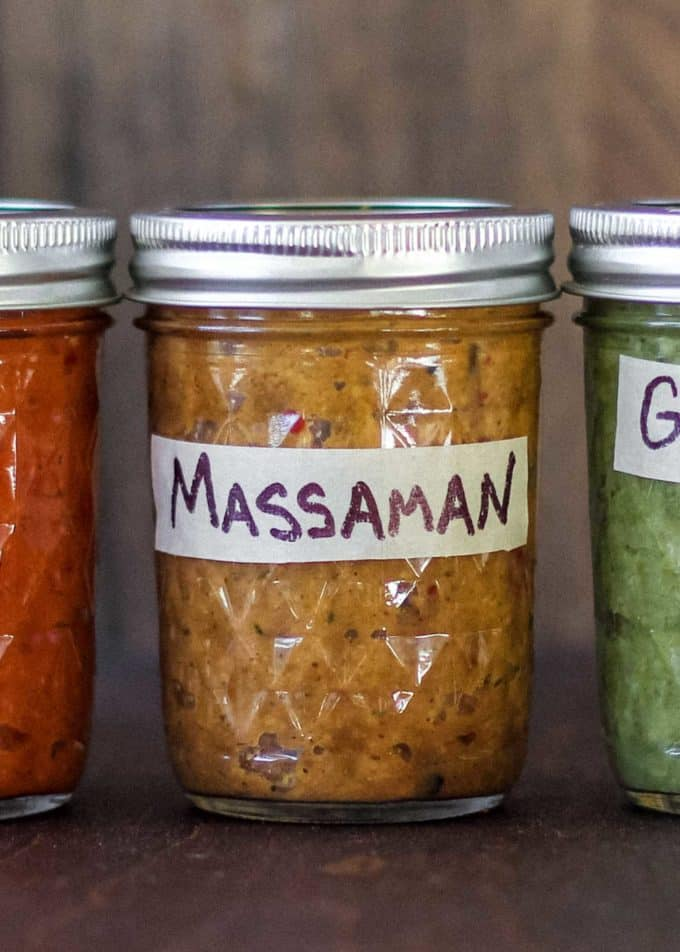 thai massaman curry paste in a small mason jar