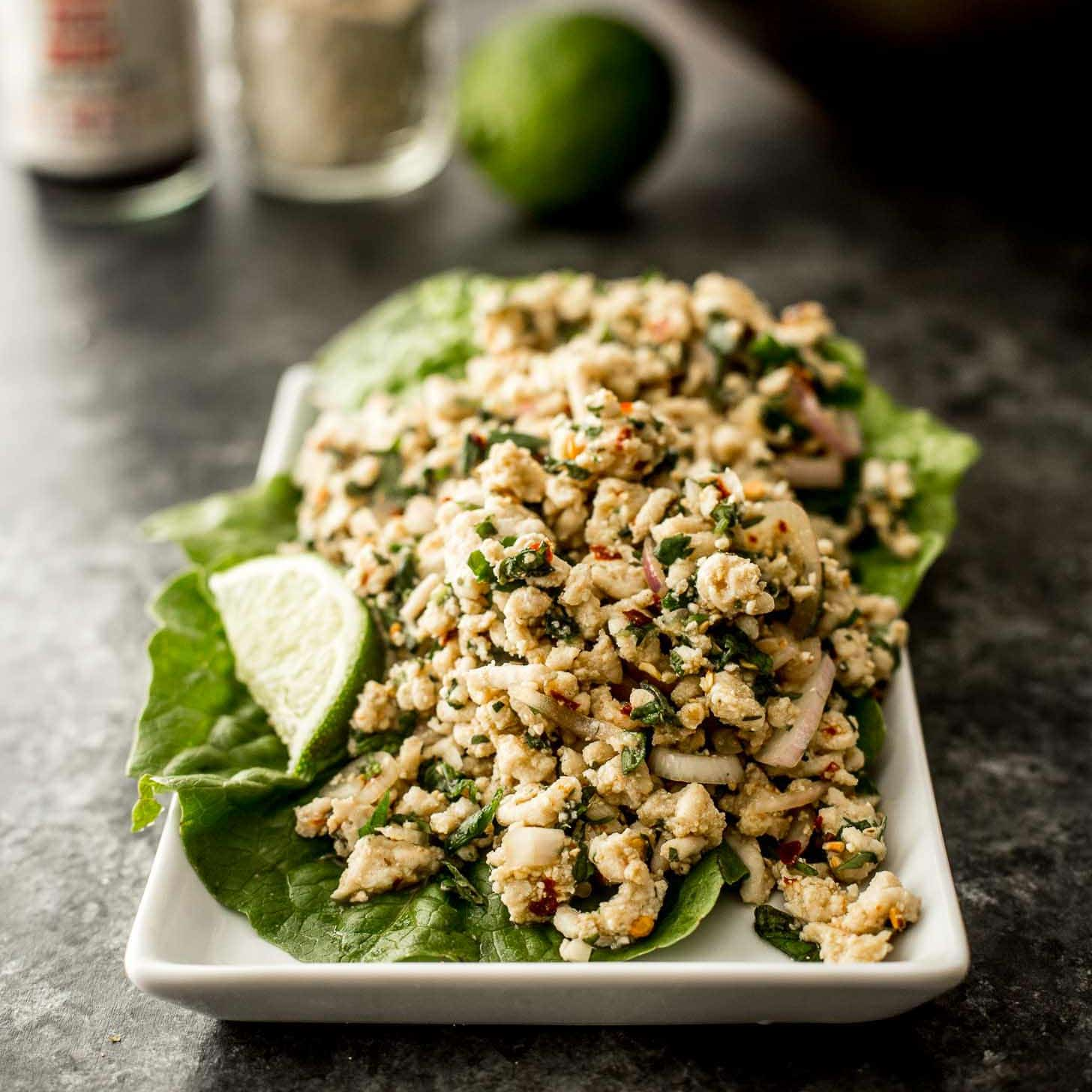 Thai Minced Chicken Salad Laab Larb Gai Inquiring Chef