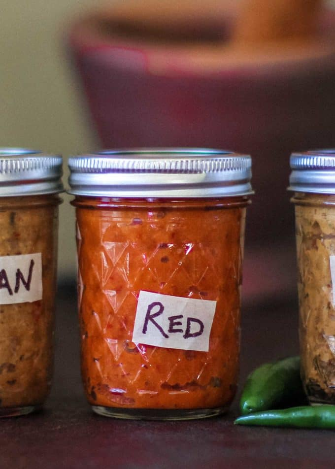 red curry paste in a small mason jar