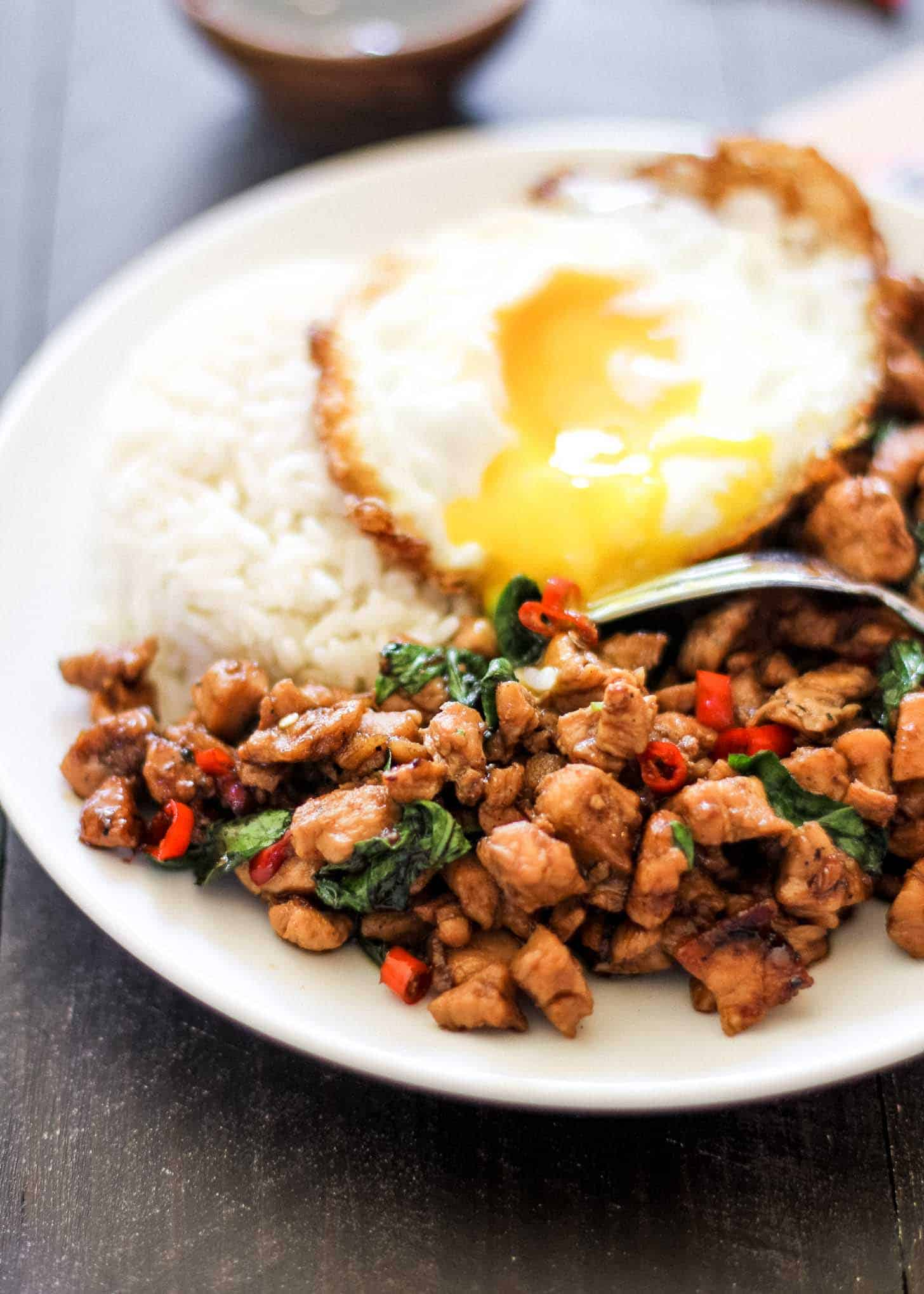 Thai basil chicken with a fried egg on a white plate