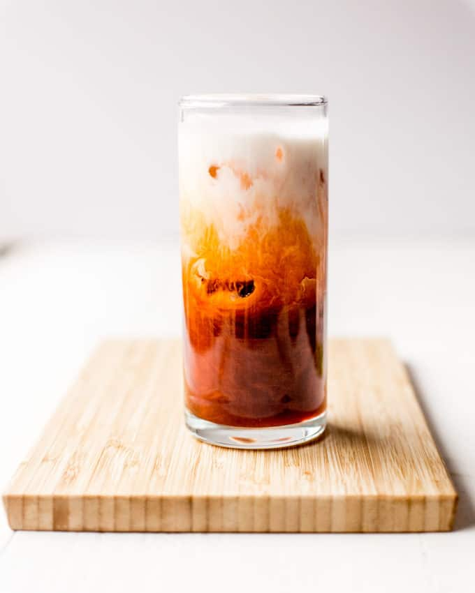thai iced tea in a glass