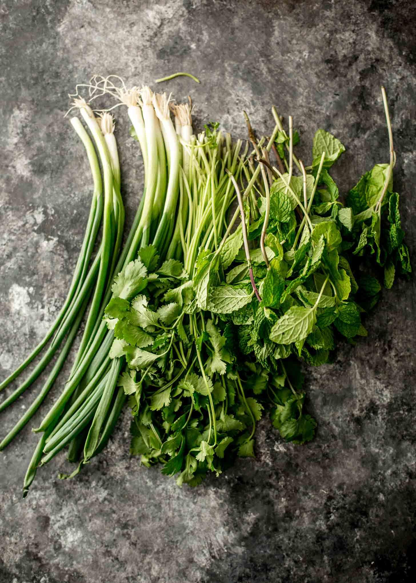 fresh herbs on a grey countertop