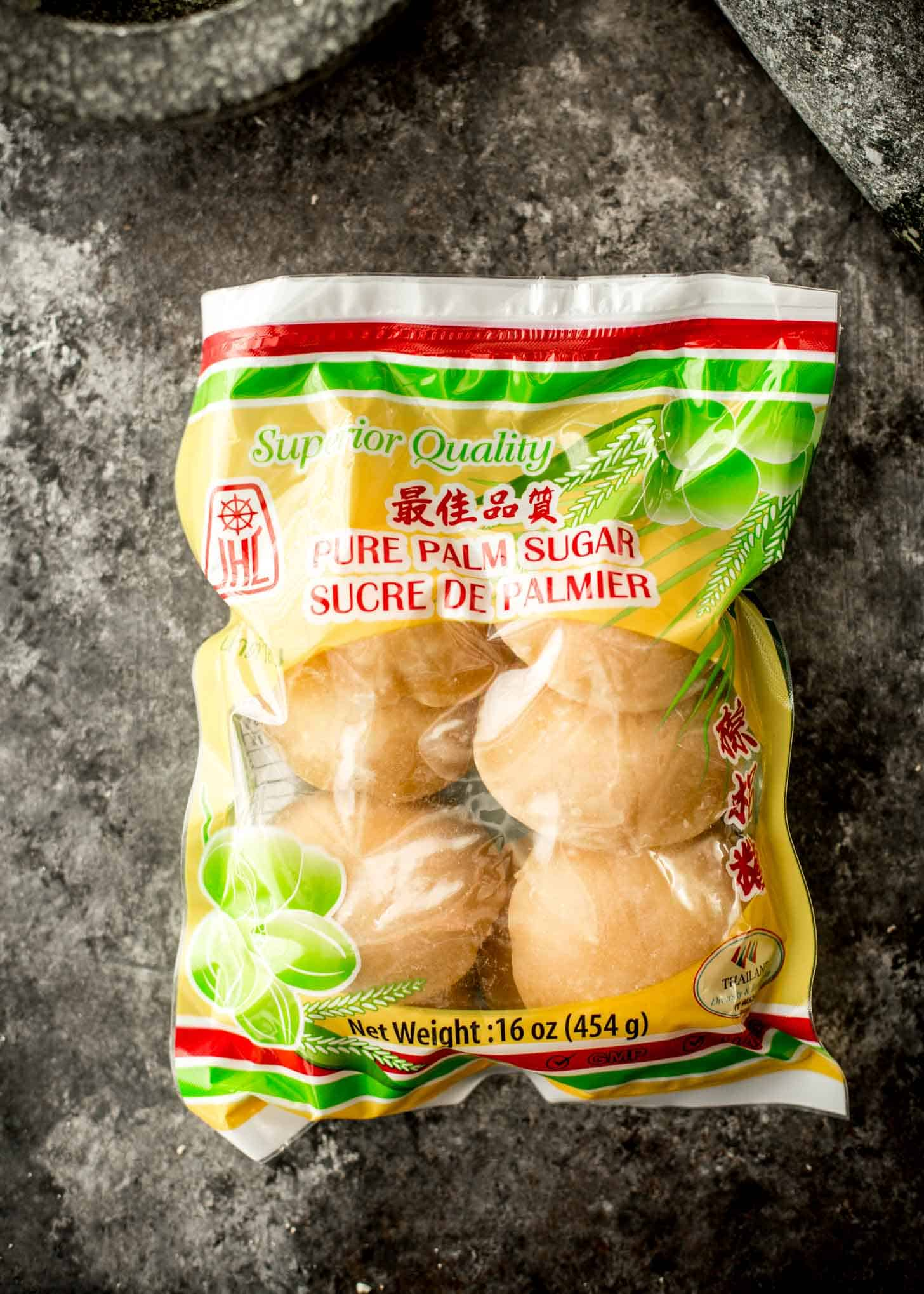 a bag of palm sugar on a grey countertop