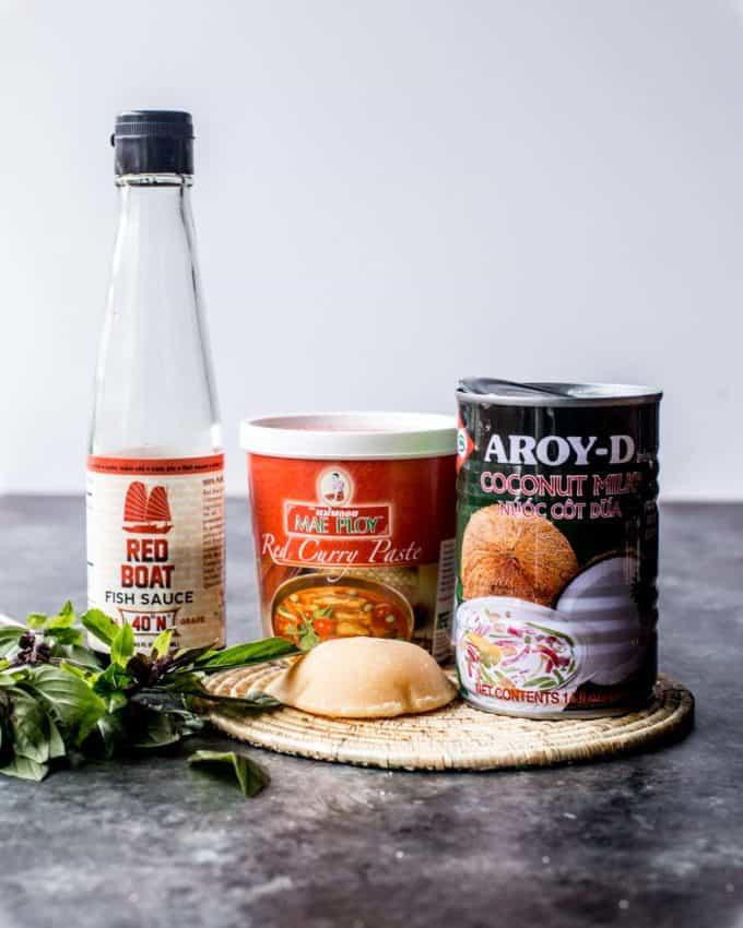 fish sauce, red curry paste, coconut milk, herbs, thai basil, palm sugar