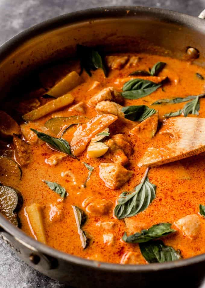 Thai red curry in a wok
