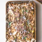 Easter Egg Crunch Bark on a parchment lined sheet pan