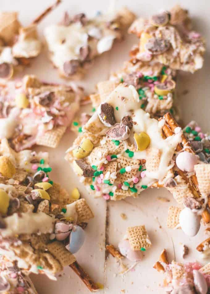 Easter Egg Crunch Bark, broken into large pieces on a white table