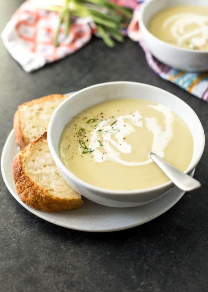 Instant Pot Potato Leek Soup in a white bowl