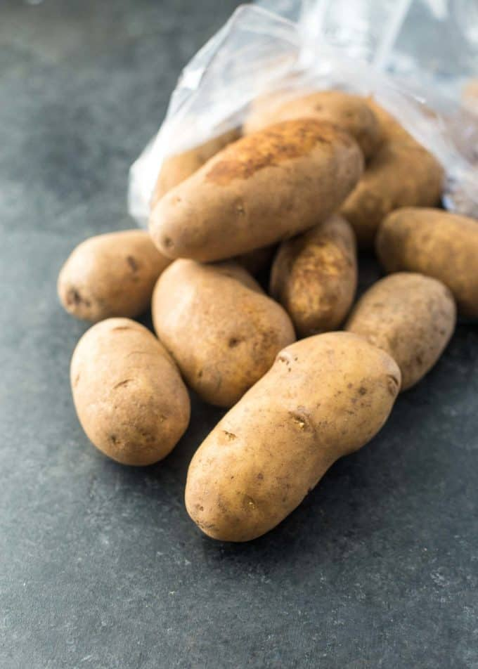 russet potatoes on a grey countertop