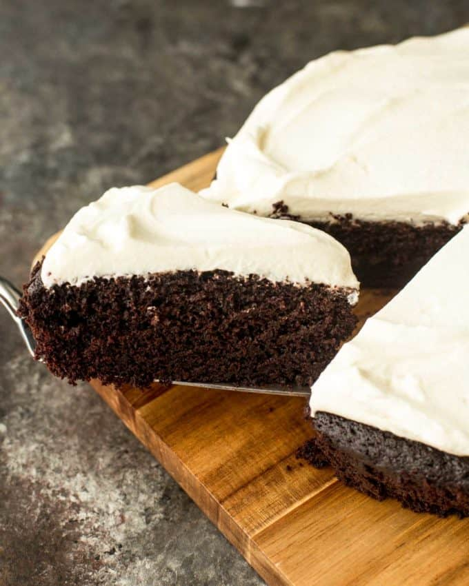 removing a slice of Guinness chocolate cake