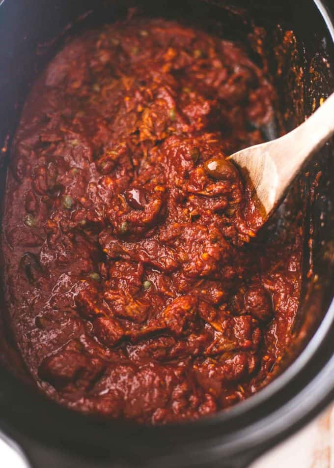 puttanesca sauce in a slow cooker